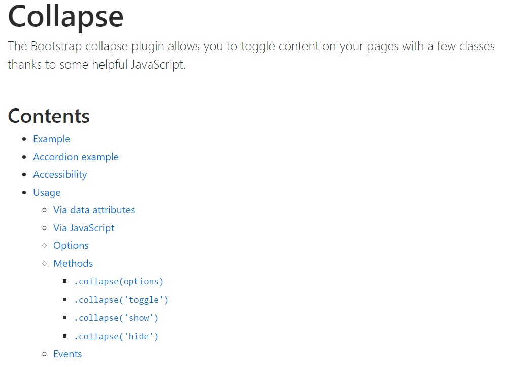 Bootstrap collapse  formal documentation