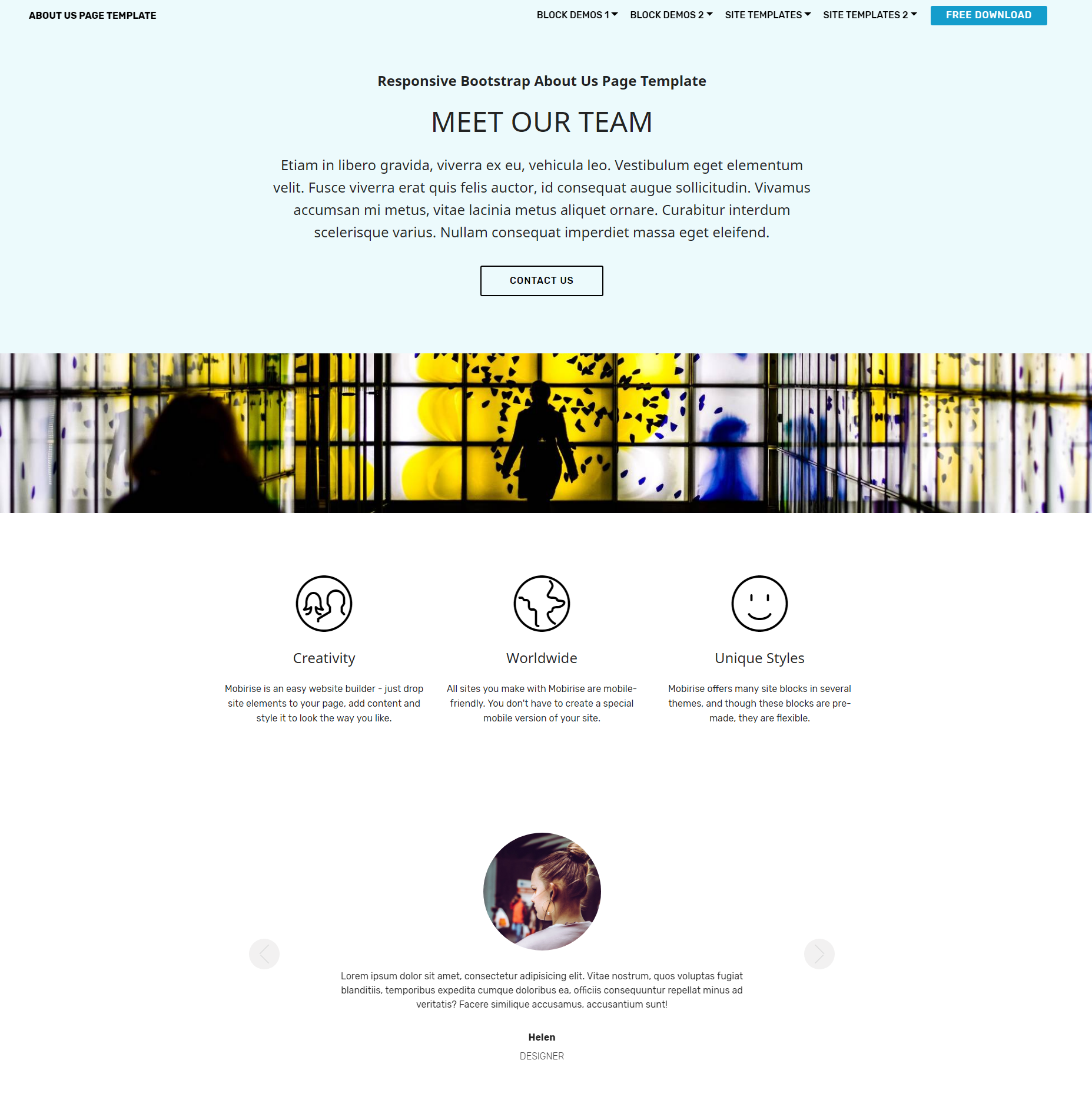 Responsive Bootstrap About Us Themes