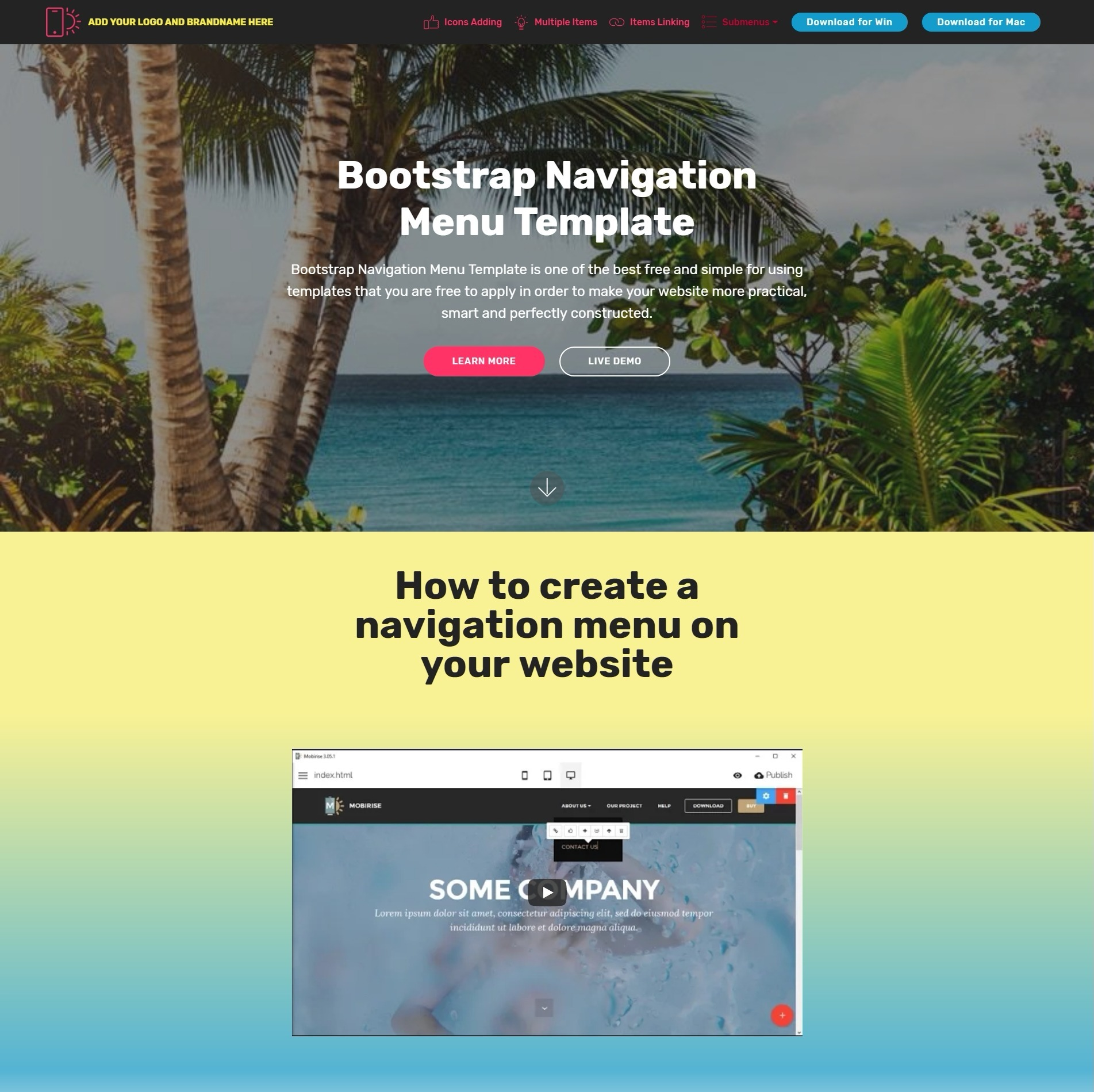 Bootstrap Navigation Menu Template