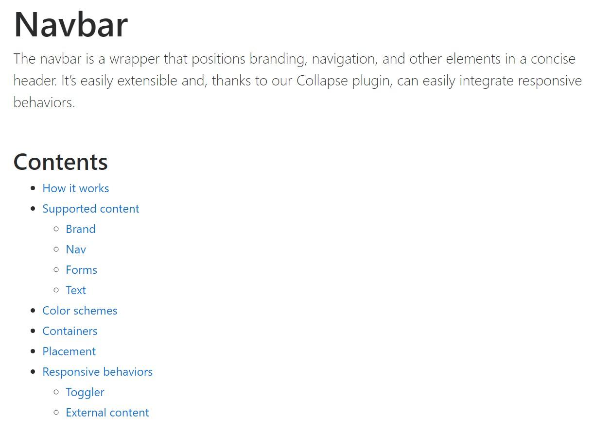 Bootstrap Navbar  formal documentation