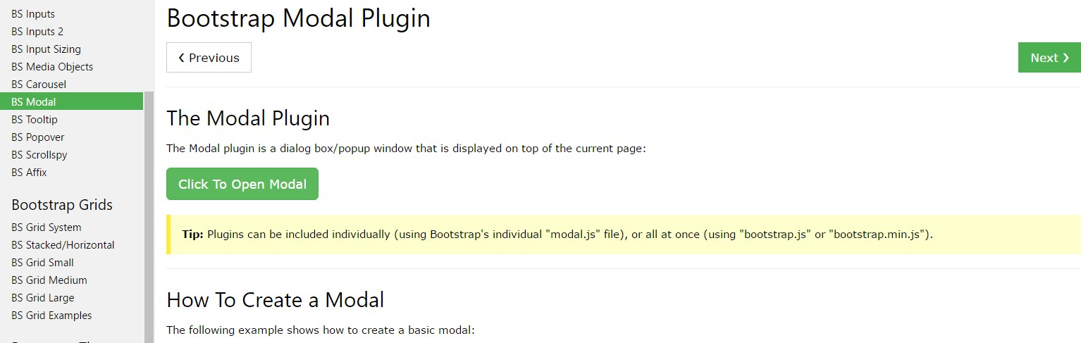 Bootstrap Modal Popup:  guide  short training