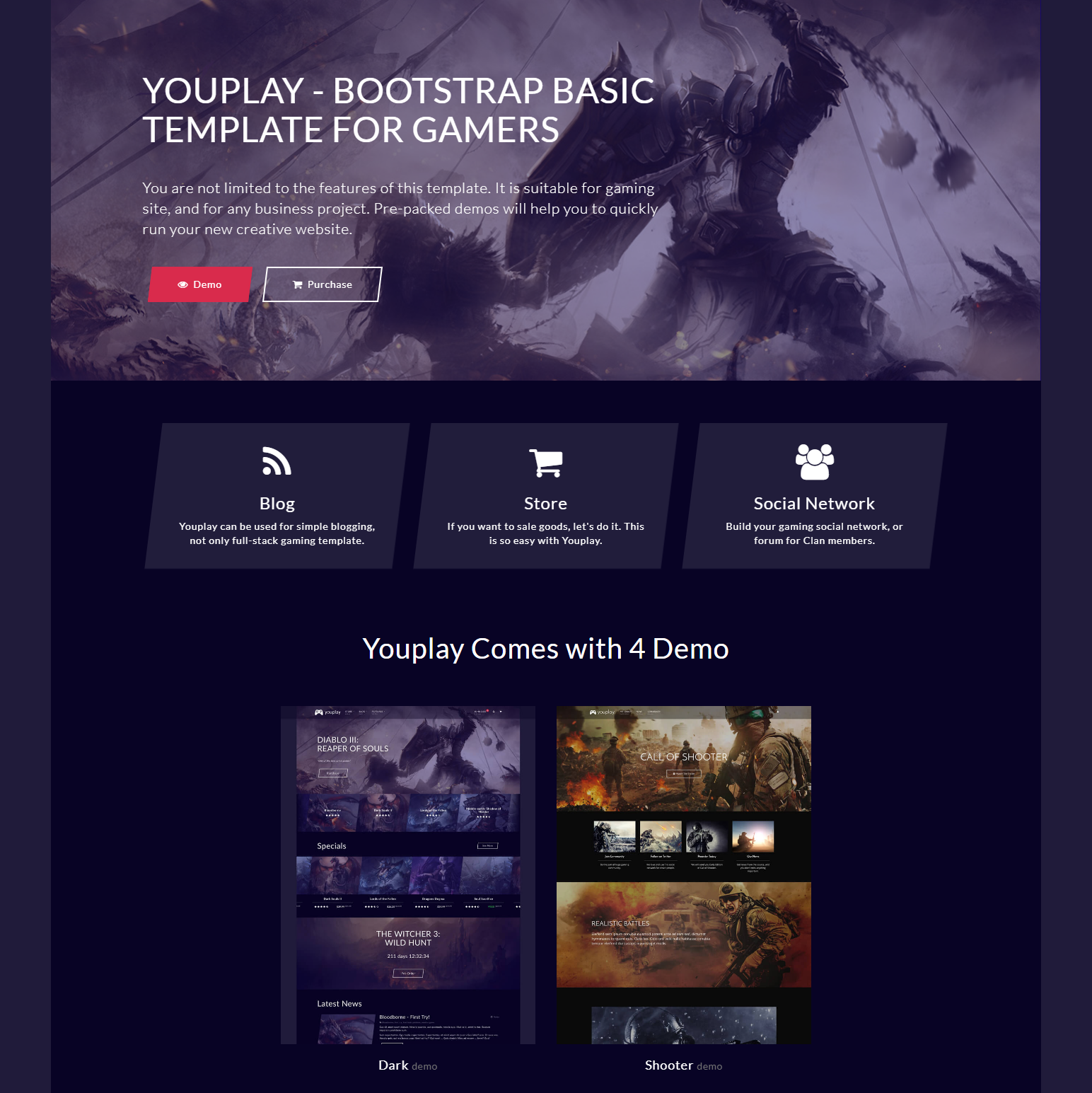 CSS3 Bootstrap YouPlay Themes