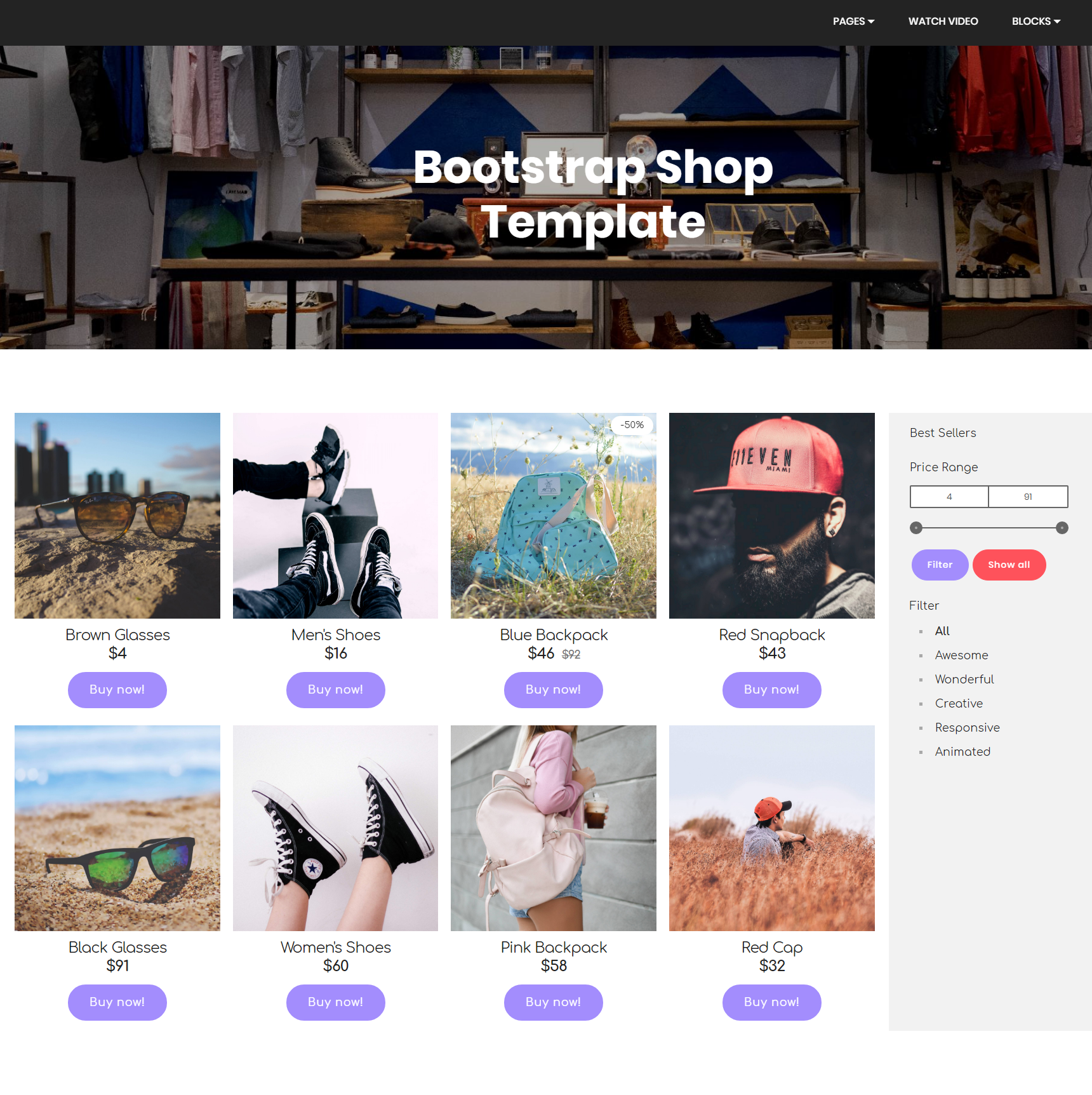 Free Bootstrap Shop Templates