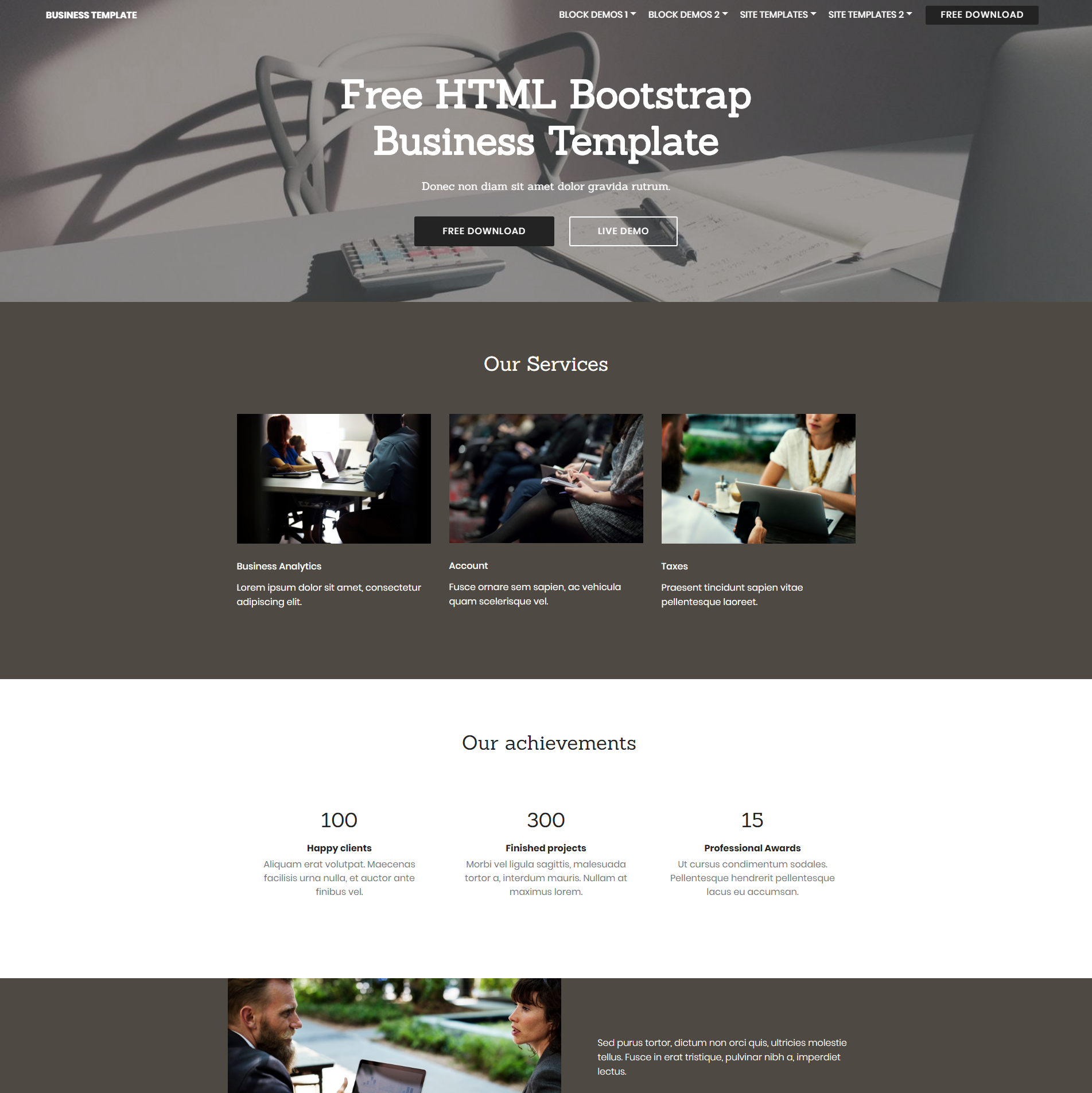 Responsive Bootstrap Business Themes