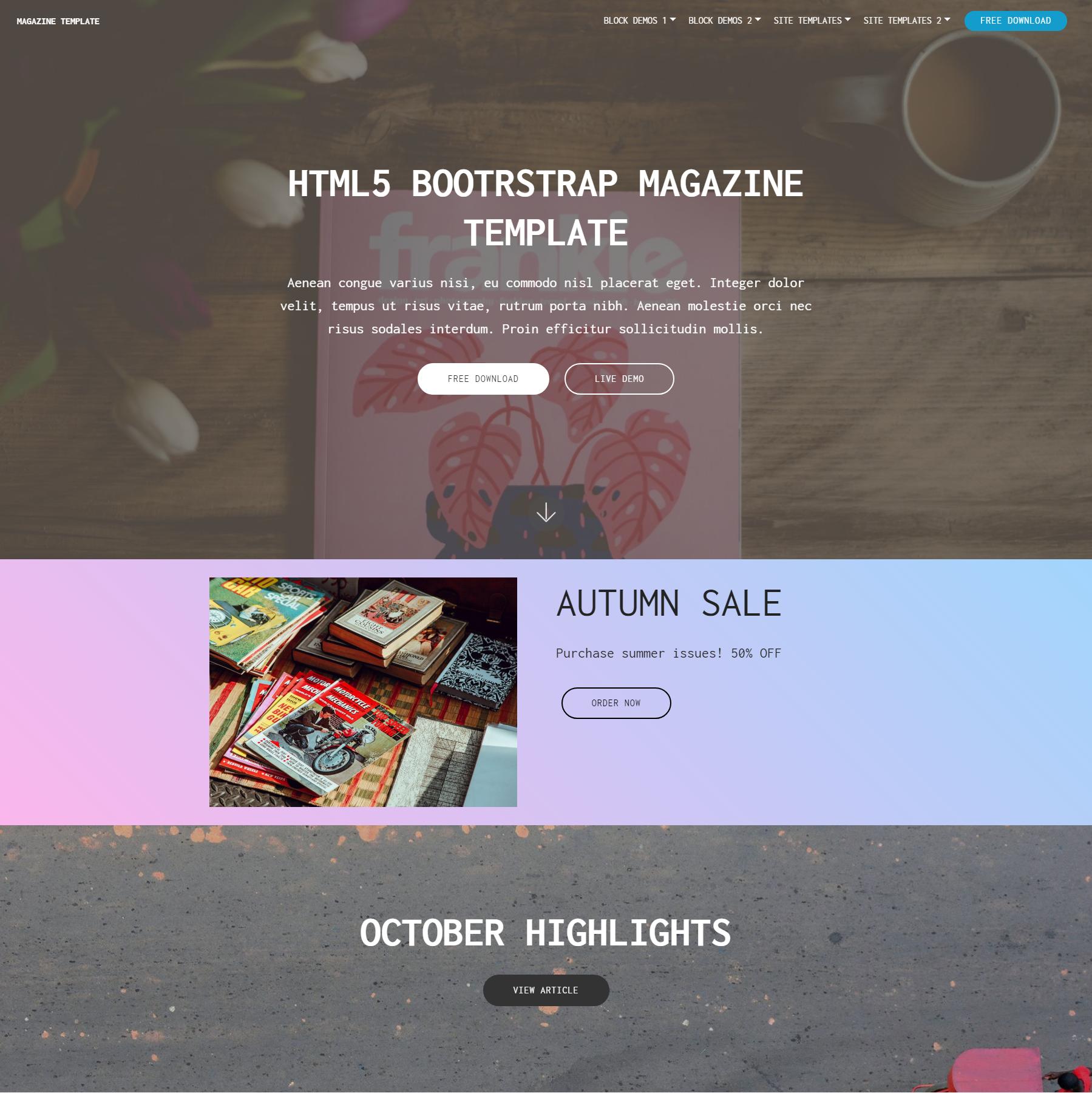 HTML Bootstrap Magazine Templates